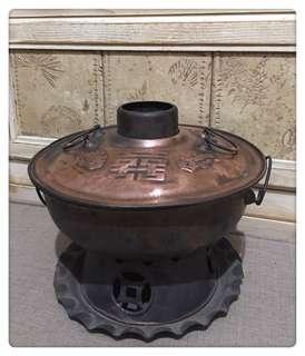🚚 老物件 早期 囍字火鍋 紅銅製