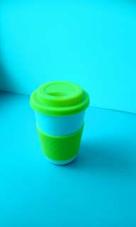🚚 Coffee Cup Lime Green 250ml Rubber Cover and Holder