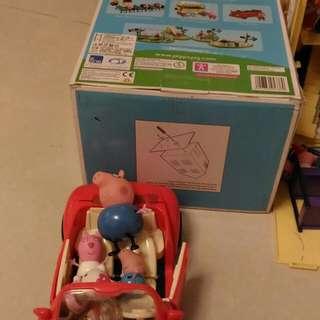 🚚 粉紅豬小妹豪華房屋組及玩具車(有缺件)