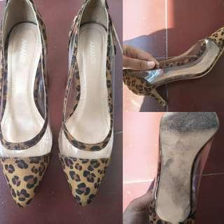 high heels Amante motif cheetah dg hak pendek, ukuran 37