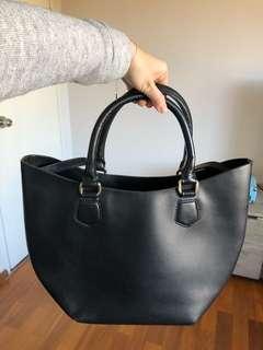 Zara large tote shopper XXL leather buffalo bag black shoulder
