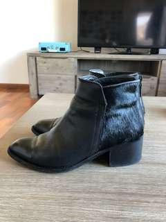 Ankle boots leather black pony hair dress block heel 40 au 9