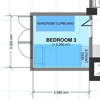≈5.25m² Bedroom In A 3 Room Flat