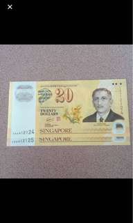 Running number $20 note