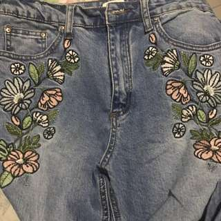 Forever 21 Embroidered Jeans
