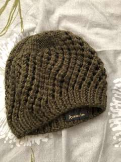 olive green knitted beanie