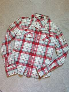 🚚 NET 仿舊紅格紋長袖牛仔襯衫