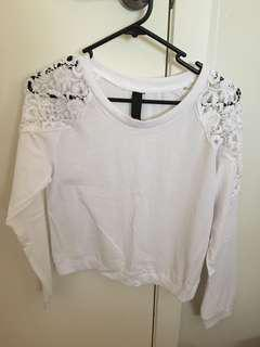 Lace shoulder long sleeve