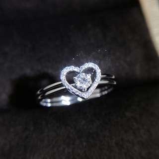 兩枚一套💍心型天然鑽石18k白金戒指💎4種戴法套戒🎁女朋友生日禮物全新可愛推薦