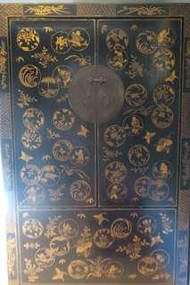 舊描金衣櫃,闊105x高184x深52CM
