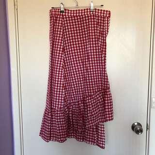 Red Gingham Ruffle Skirt