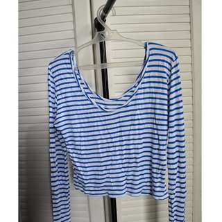 White n Blue Stripped Chic Crop top