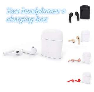 Wireless earbuds and charging box i7s READY STOCKS