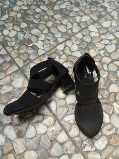 Black open boots