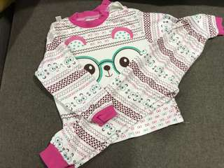 Bear pink girl pajamas one set