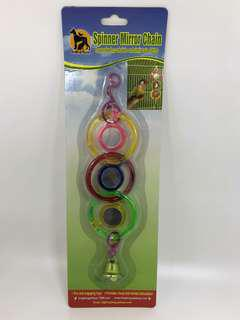 Spiral Spinner Mirror Hanging Toy for Parrot