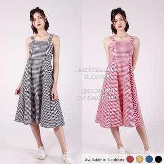 (4 Colors) Checkered Grid Picnic Midi Dress