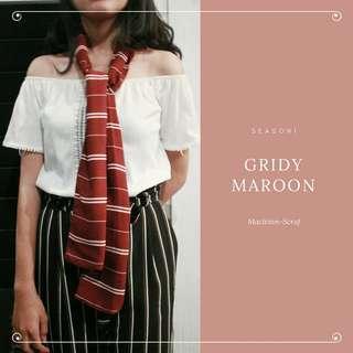 Scarf gridy maroon