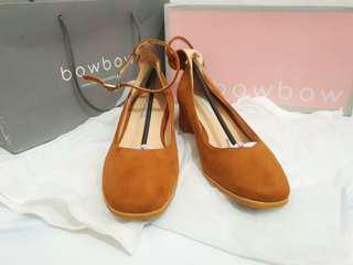 Suede Granny Ankle Strap Ballerinas Brown Shoes