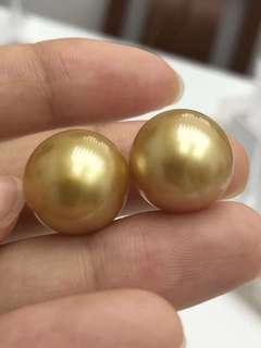 15mm濃金南洋珍珠,這一對實物金得閃閃的