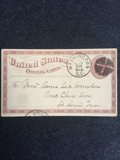 US circa 1875 1c Brown Liberty Postal Card, Segmented Cork Killer, Washington DC to St Louis Missouri