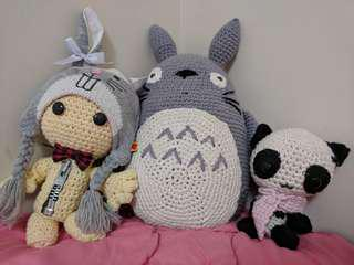 Crochet Sackboy, Totoro, Panda Plushies