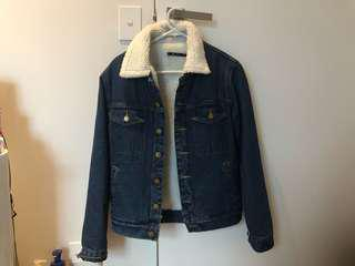 Denim Shrunken Borg Jacket