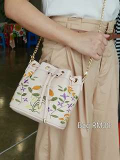 Embroidered Drawstring Bag
