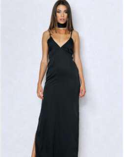 BLACK SLIP FORMAL DRESS