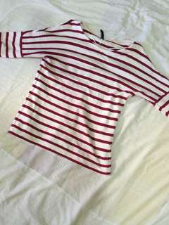 3/4 Red and white stripes shirt