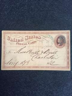 US 1873 1c Brown Liberty Postal Card Large Watermark, Cork Killer, Charleston South Carolina, The State Bank to Messrs Burst & Burst