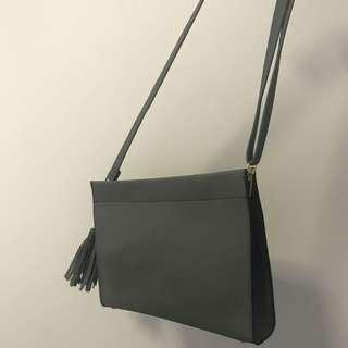 Grey pleather side bag