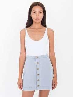 American Apparel Front Button Denim Skirt Light Indigo (XS)