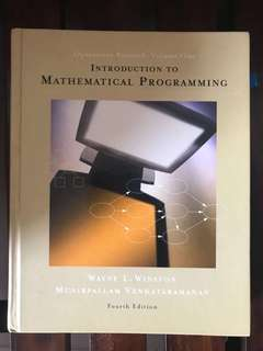 Operational Research Vol 1: Introduction to Mathematical Programming