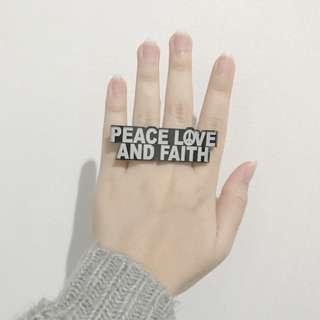 Peace Love Faith Double Ring