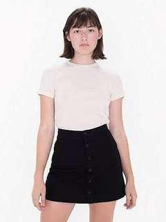 American Apparel Black Front Button Denim Skirt (S)
