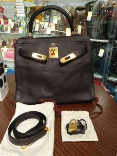 Hermes kelly 28 raisin togo t stamp
