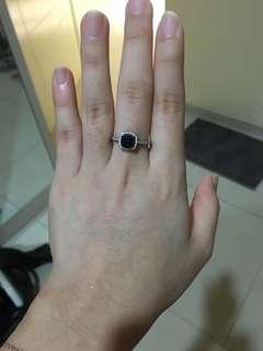 Cincin perak blue sapphire
