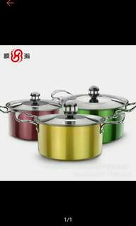 Kitchen Set of 3pcs. Stainless Non Stick Stock Pot Cookware