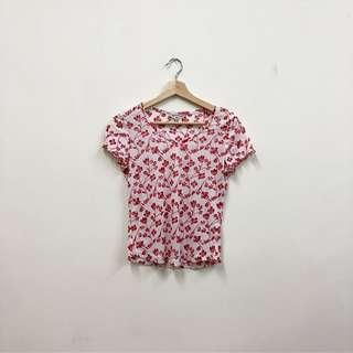 🚚 紅色 小花朵 短版 薄紗 短袖上衣 辣妹 古著 二手