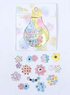 🚚 Pastel Flowers with Gold Foil Scrapbook / Planner Stickers #158