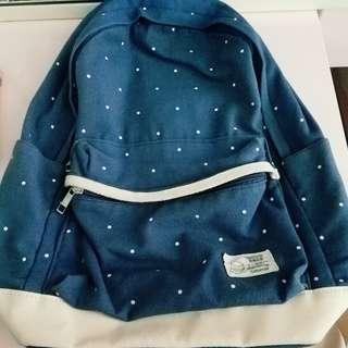 深藍 文青 波點 背包