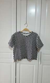 Semi Crop Top Patterned Tee