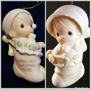 "Precious Moments 陶瓷公仔 ""Baby's First Christmas (Boy & Girl ) 1996"" 183946 & 193938"