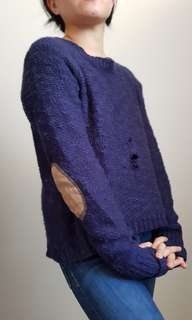 Blue sweater with elbow patch size S