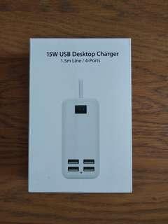 全新 有開關 線長1.5米 4 USB Hub 家用 旅行 快充 輕便 拖板