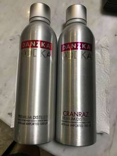 One pair of 1 litre Danzka vodka in Aluminium bottle