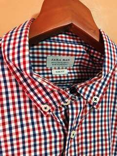 Red Blue Checkered Long Sleeve Polo with Elbow Patch