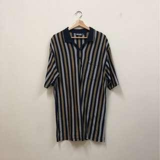🚚 直條紋 深色 XL oversized 立領 POLO衫 短袖上衣 古著 二手