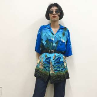 夏威夷風 藍色系 oversized 短袖上衣 襯衫 古著 二手